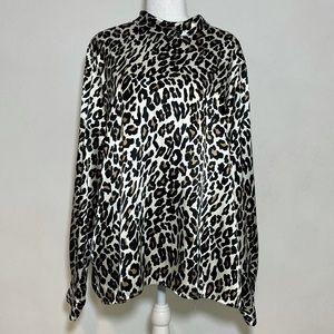 Liz Baker Animal Print High Collar Satin Blouse
